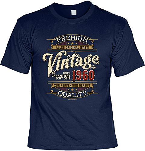 Herren Geburtstag T-Shirt - 60 Jahre - 100{272bbc192e28f3cd09318b64d5680a54cc61c5b3dbd8f824db693ea2e31c057f} Premium Vintage seit 1960 - lustige Shirts 4 Heroes Geschenk-Set Bedruckt mit Urkunde
