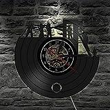 ROMK Horloge murale en forme de disque vinyle style pompier - Décoration murale en forme de camion de pompier - Cadeau idéal