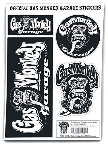 Gas Monkey Garage Sticker Unisex Aufkleber-Set Standard Vinyl Fan-Merch, TV-Serien
