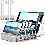 Charging Station for Multiple Devices MSTJRY 6 Port USB Charging Dock for Cell Phones Tablets White Charger Port(6 Cables Included)