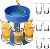 6 Shot Glass Dispenser (Blue) and Plastic Glasses Set of 6 - Fun Dispenser For Filling Drinks and Cocktails - Fun & Cool Shot Glasses Set – Be The Life Of The Party!