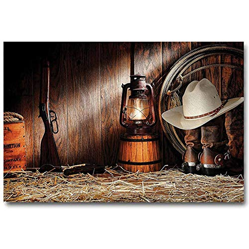 Western Decor Collection Company Wall Decoration Poster No Frame Authentic Gear Straw Hat ATOP Genuine Leather Boots and Kerosene Oil Lantern Lamp Kids Easter Gifts Dark Brown L20 x H40 Inch
