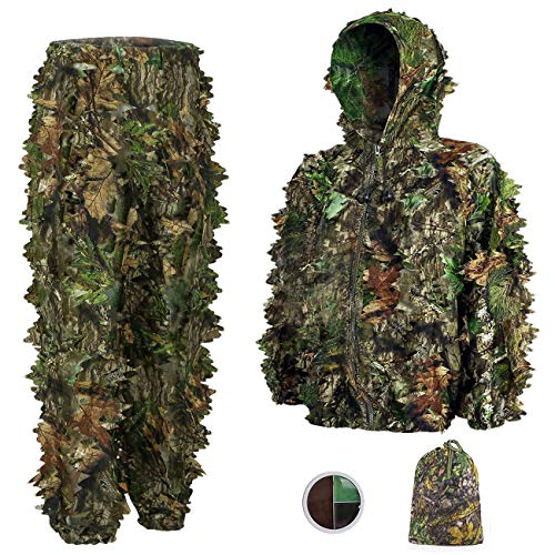 SMZCTYI Ghillie Suit 3D Leafy Woodland Camouflage Clothing, Lightweight Breathable Hooded Apparel for Jungle Hunting, Shooting, Airsoft, Hallowee