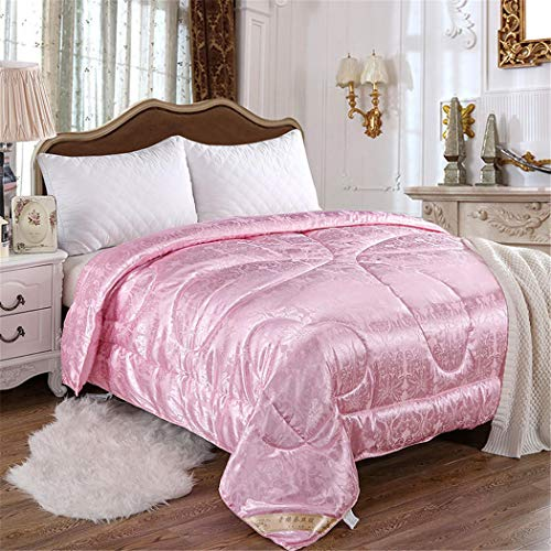 KIHUGL Mulberry Silk Comforter Winter Warm Quilts For King Queen Double Bed Cover Blanket Couple Duvet Filling Pink King Size Summer