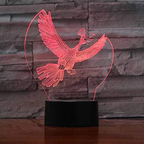 LLZGPZXYD 7 kleuren kleurverandering creatieve modellering dieren LED 3D vogel raf vliegen bureaulamp decoraties verlichting lamp kinderen geschenk vakantie nacht licht Touch Switch
