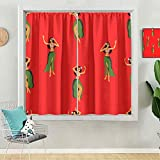 Blackout Curtains, Hawaii Dance Seamless Pattern Girls Playing Ukulele and Dancing Hula, 2 Panels W36 x L54 Room Darkening Curtain for Living Room