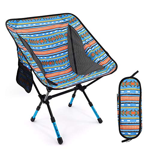 RELIANCER Portable Outdoor Folding Camping Chair Adjustable 3 Heights 7075 Aluminium Alloy Backpacking Chairs Support 330 lbs Ultralight Moon Leisure Chair Lawn Chair w/Mesh Pocket&Carry Bag