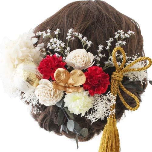 【髪飾り専門店LALALA】髪飾り 成人式 卒業式 和装 結婚式 袴 ドライフラワー プリザーブドフラワー 高級造花 603 (ホワイト/レッド)