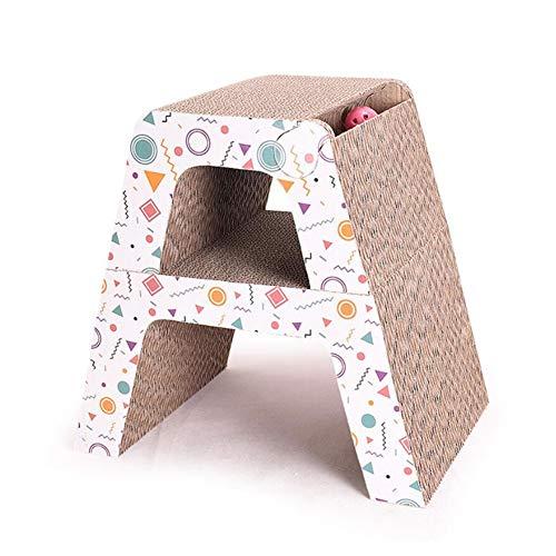 LSS 2 In 1 Cat Scratch Board, Wellpappe, Katzenkratzenspielzeug, Schleifzubehör Für Haustierkrallen, Cat Jumping Platform Multifunktionskombination - 2-teiliges Set