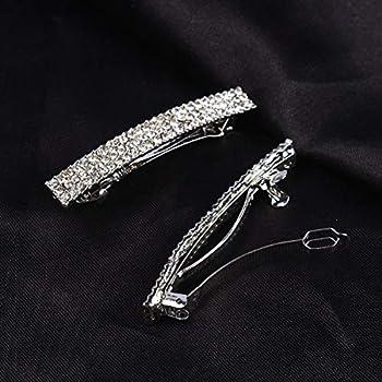 Aoxmas Bling Silver Plated Crystal Hairpin Three Row Rhinestone Hair Barrette Clip Hair Accessories