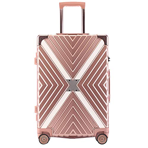 Vintage Expandable Luggage, Lightweight Mute Universal Wheel Sturdy Durable with TSA Lock Spinner Suitcase for Adults Tourism Student Vacation-47x27x71cm-Rose Gold