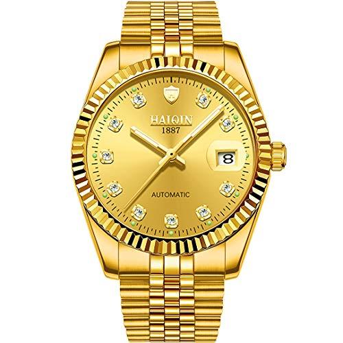 Reloj automático para Hombre Relojes mecánicos de Dos Tonos para Hombre Reloj de Pulsera de Acero Inoxidable Resistente al Agua Relojes de Oro con Esfera Luminosa para Hombre