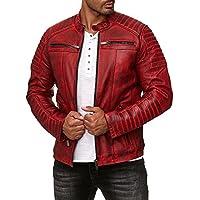 Redbridge - Chaqueta de entretiempo para hombre, piel auténtica, piel sintética, algodón, con zonas acolchadas Rojo – piel auténtica. XS