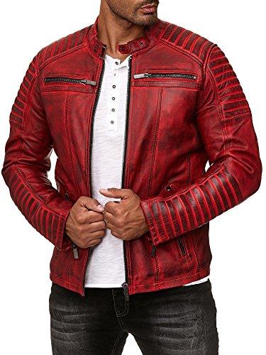 Redbridge Herren Jacke Übergangsjacke Biker Lederjacke Echtleder mit gesteppten Bereichen Rot L