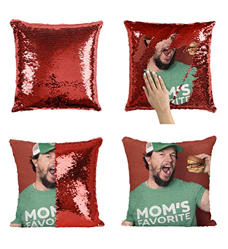 Mark Wahlberg Mom's Favorite Ted Actor_MA0229 Pillow Cover Sequin Mermaid Flip Reversible Kissen Meme Emoji Actor Girls Boys Couch Office Sofa (Cover Only)