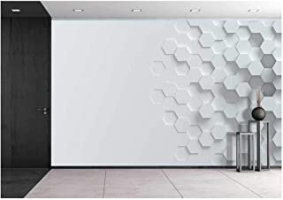 wall26 - Hexagonal Abstract 3D Background - Removable Wall Mural | Self-Adhesive Large Wallpaper - 66x96 inches