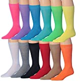 James Fiallo Mens 12-Pairs Funny Funky Crazy Novelty Colorful Patterned Dress Socks (Twelve Original Colors)