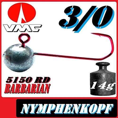 VMC–Anzuelos pesca ninfa cabeza Wacky tamaño 3/014g 5unidades en Set con VMC Barbarian 5150RD Ganchos