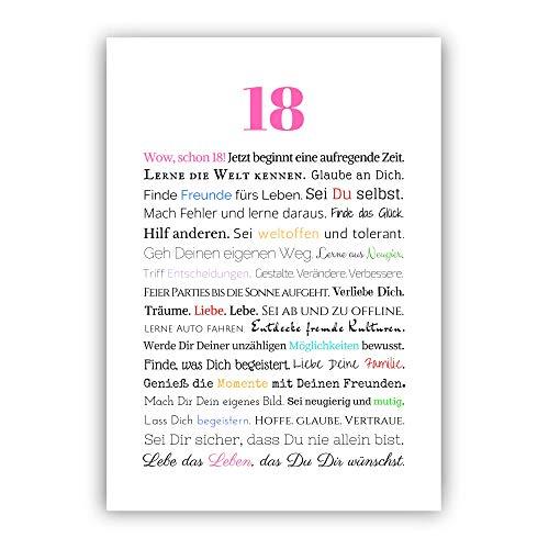 18. Geburtstag Mädchen Geschenk Geschenkidee zur Volljährigkeit Poster Kunstdruck Bild Geburtstagsgeschenk AA