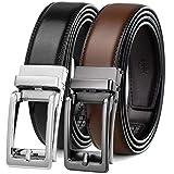 2 Pack Click Ratchet Belt for Men,Comfort Dress Belt with Adjustable Sliding Buckle in Gift Box (28'-42' Waist Adjustable, Click Black Belt/Burnt Brown Leather)