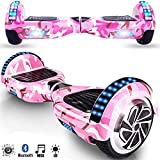 Magic Vida Skateboard Électrique 6.5 Pouces Bluetooth Puissance 700W avec Deux Barres LED Gyropode Auto-Équilibrage de Bonne qualité pour Enfants et Adultes(Rose Camouflage