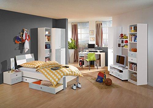 lifestyle4living Jugendzimmer, komplett, Set, Jungen, Mädchen, Jugendzimmermöbel, Kinderzimmer, Kinderzimmermöbel, Jugendmöbel, Kleiderschrank, Bett, Alpinweiß, Beton
