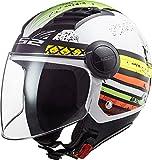 LS2, Casco jet de moto Airflow ronnie, blanco, verde, L