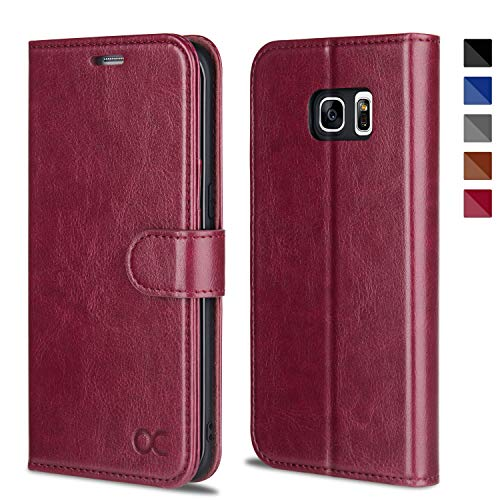 OCASE Galaxy S7 Edge Case [TPU Shockproof Interior Protective Case] [Card Slot] [Kickstand] Leather Wallet Flip Case Samsung Galaxy S7 Edge (Burgundy)