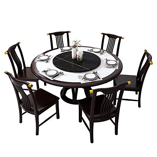 Esstisch, Gummiholz Vollholz Esstisch und Stuhl Kombination Marmor runder Esstisch mit Drehteller Küche Esszimmermöbel,150cm Table 8pcs Chair
