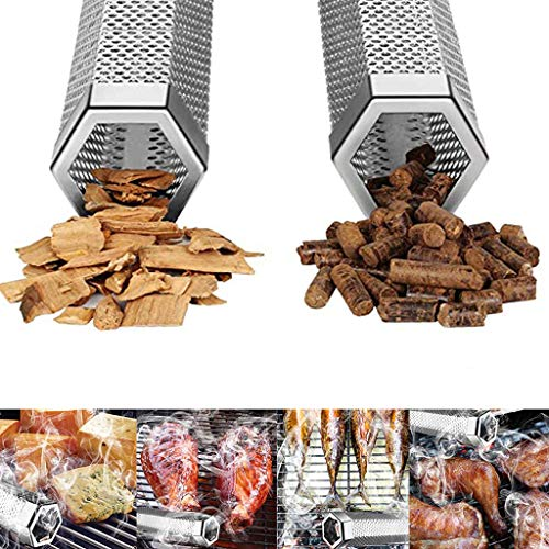 Lowest Price! unbran Stainless Steel 12'' Hexagon BBQ Wood Pellet Tube Smoker Portable Barbecue Smok...