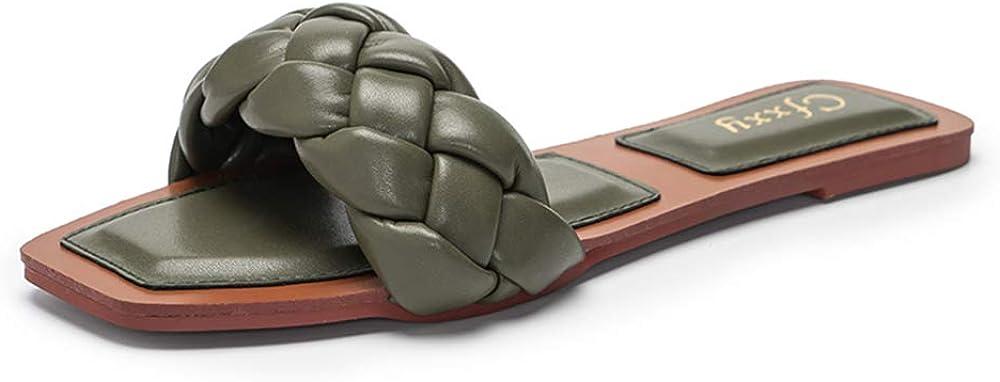 Slippers for Women Open Toe Weave Low Heel Summer Beach Sandal Ladies Slides Mules Shoes Green US 6.5