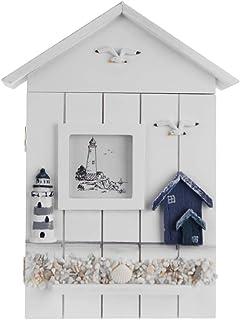NICEXMAS Armoire à clés style méditerranéen en bois style nautique montée sur le mur Porte-clés en bois Boîte de rangement...