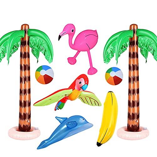 Yuccer 8 Pezzi Giochi da Piscina per Bambini Fenicottero Gonfiabile Palma Gonfiabile Pallone Gonfiabile Spiaggia Banana Pappagallo Delfino Gonfiabile Piscina Decorazioni Festa Hawaiana