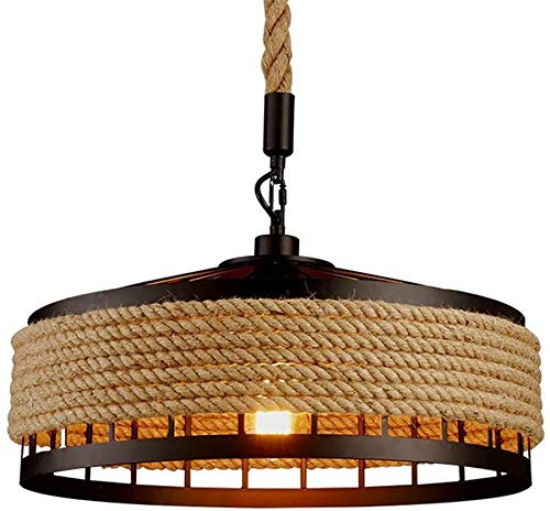 Sinoman Industrial Hanging Lamp Pendant Light Vintage Metal Round Rustic Country Style Ceiling Lamp Hemp Rope Hanging Lighting Fixture (Size : Diameter 11.81inch)