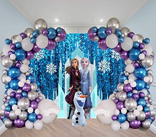 STK Winter Wonderland Baby Shower Balloon Garland Kit 4 Girl Onederland 1st Birthday Boy Party Decorations Backdrop Frozen 2 Theme Supplies Snow Princess Themed Balloons Onderland Princesses Christmas