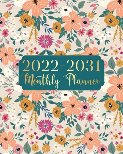 Planificador mensual 2022-2031: Planificador mensual de diez años, calendario de citas, planificador de negocios de 20 x 25 cm,...