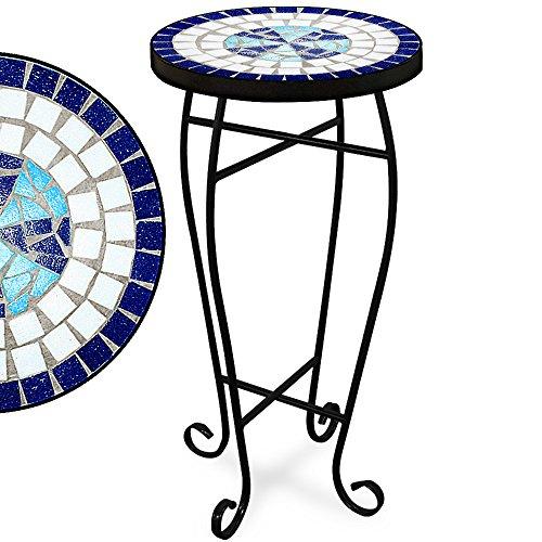 Deuba Mosaiktisch Blumenhocker Neptun Rund 62x34 cm Blau Metall Pulverbeschichtet Mosaik Balkontisch Beistelltisch