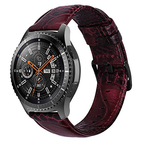 iBazal Galaxy Watch 46mm Armband 22mm Leder Uhrenarmband Lederarmband Ersatz für Samsung Gear S3 Frontier/Classic,Huawei Watch GT 46mm/Huawei Watch 2 Classic,Ticwatch Pro/S2/E2 Bands - Wein Rot