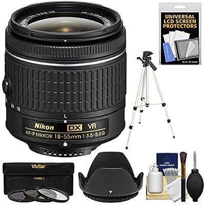 Nikon 18-55mm f/3.5-5.6G VR AF-P DX Zoom-Nikkor Lens with 3 UV/CPL/ND8 Filters + Tripod + Hood + Kit (Certified Refurbished) from Nikon