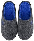 Mishansha Zapatillas de Estar en Casa Hombre Mujer, Zapatillas Casa Memory Foam para Invierno Otoño, Cómodas/Blanditas/Mulliditas y Calientes(Gris, 46/47 EU)