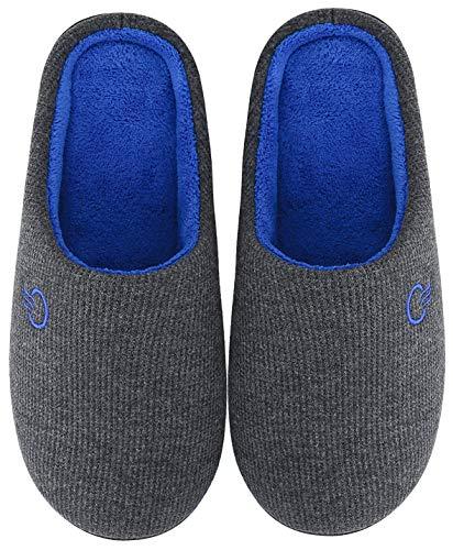 Mishansha Herren Damen Winter Hausschuhe Memory Foam Warm Leicht rutschfeste Indoor & Outdoor Pantoffeln mit Harte Sohle für Frauen Männer(Grau, 44/45 (Herstellergröße 300 mm))