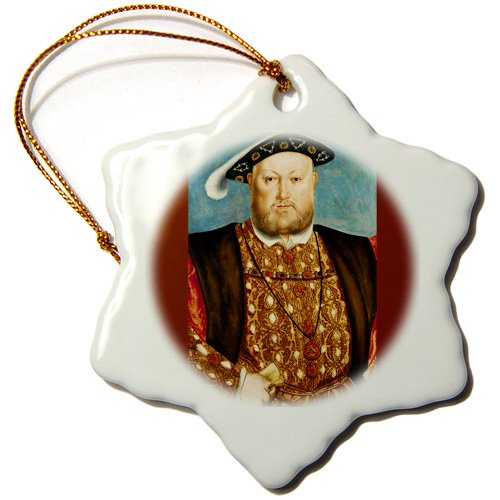 3dRose ORN_169933_1 King Henry VIII, 1540 by Hans Holbein The Younger Snowflake Ornament, Porcelain, 3-Inch