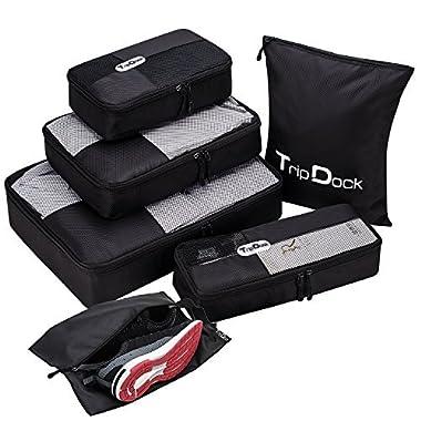 TripDock Various Packing Cubes 6 Set Lightweight Travel Luggage Organizers (1Black(1Large+1Medium+1Small+1Slim+1 Shoes bag+1Laundry bag))