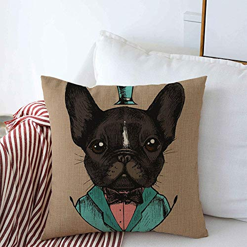 Anmbsk Decorative Throw Pillow Covers for Couch Design Bow Gentleman French Linear Bulldog Tuxedo Hand Man Drawn Beauty Fashion Doggy Tie Textures Linen Bed Car Pillows Case 16x16 Inch