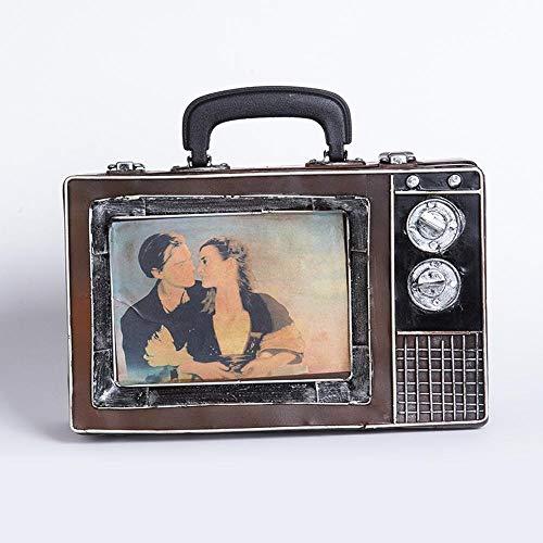 Ludage Accesorios para el hogar artesanías, Hacer Retro Vieja Maleta de TV Modelo Barra Adornos Hierro Café 30 * 11 * 20 cm