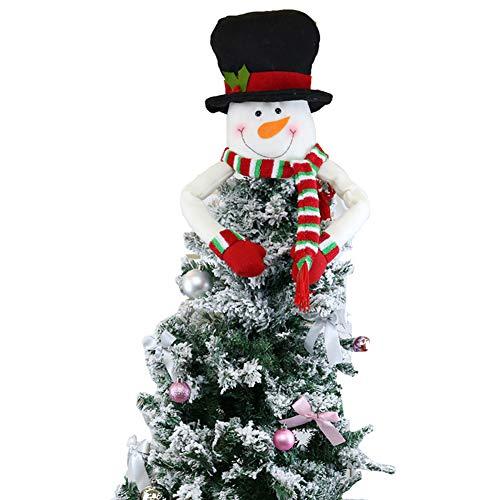 LICHENGTAI Topper Albero di Natale, Grande Babbo Natale,Pupazzo di Neve,Renna Cappello Topper Albero di Natale per Decorazioni Albero di Natale, Decorazione per la casa, Puntale per Albero di Natale
