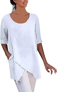 Summer Tops for Women 2019 Tronet Summer Women Cross Design Half Sleeve Cotton Linen t-Shirt Casual Blouse Tops