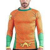 Fusion Fight Gear Aquaman Costume Adult Compression Shirt Rash Guard (S)