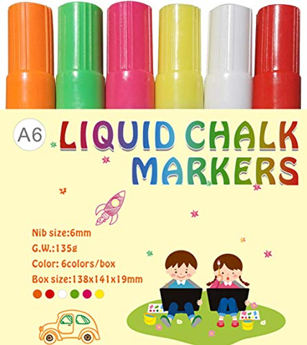 DEEDEEDA Liquid Chalk Markers, Neon Chalk Pens, 6 Pack-Extra Wide 6mm Tip-Fluorescent Colors Erasable Bright Non-Toxic Safe, For Nonporous Chalkboards/Glass Windows/Posters/Tile/Metal/Acrylic sheet