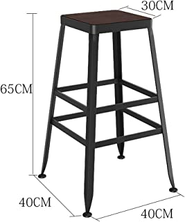 NMDB Tabourets bois massif fer forge europeen Tabourets bar Tabourets bar Chaises minimalistes modernes Tabourets hauts Tabourets bar Couleur Without leather taille 40 40 65cm